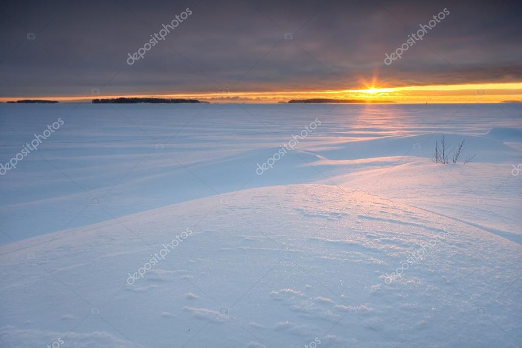 Iced sea and covered with untouched snow