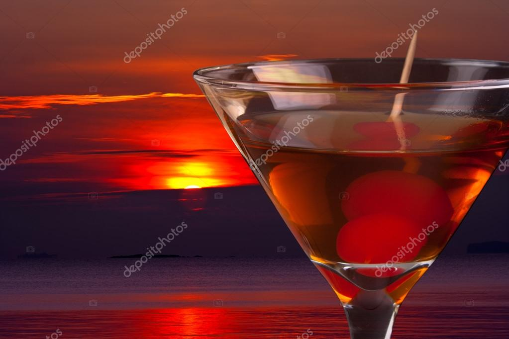 red Cocktail and sunset