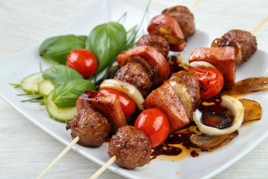 Grilled meatball skewers