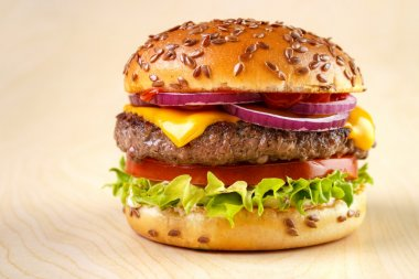 Burger with flax seeds