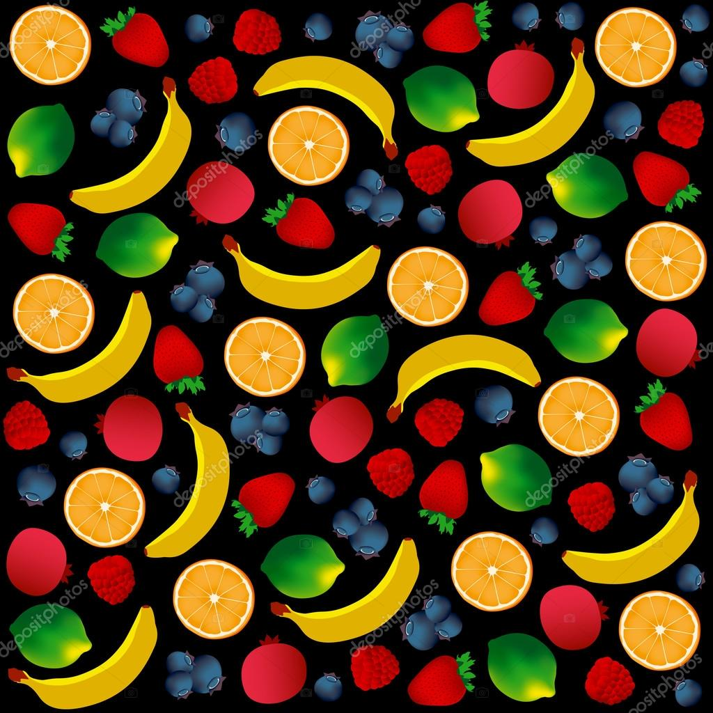 Pattern with fruits on black background. Vector and Illustration design for restaurant menus, template for cooking, healthy foods, healthy diet and website.