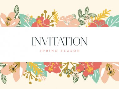 Invitation card with banner and floral background.Vector and illustration design.