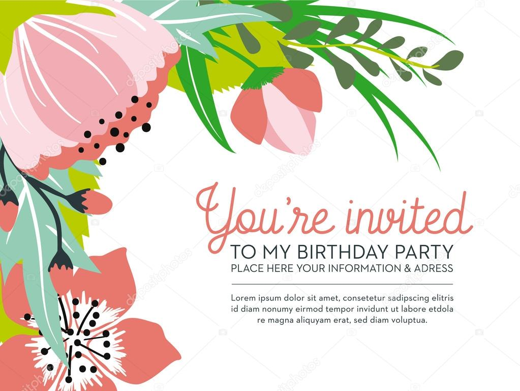 Birthday invitation card on floral background. Vector and ...