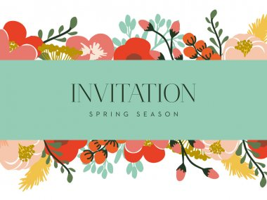 Invitation card with a turquoise banner and floral background.