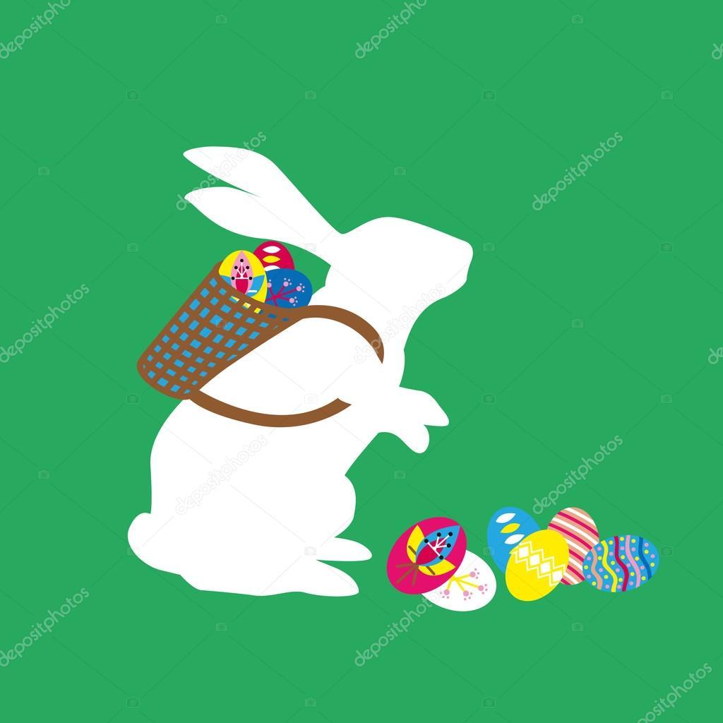 Conejito de Pascua con la cesta en la espalda con huevos de Pascua ...
