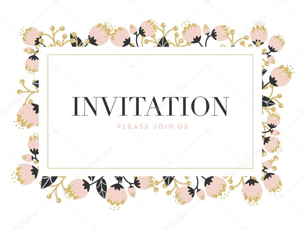 Invitation card with a flower frame with a gold border stock invitation card with a flower frame with a gold border stock vector stopboris Gallery