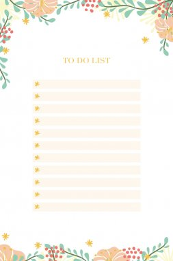 To Do List Notepad with flowers and leaves