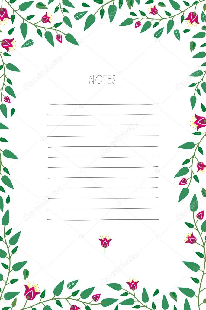 Notepad with flower frame