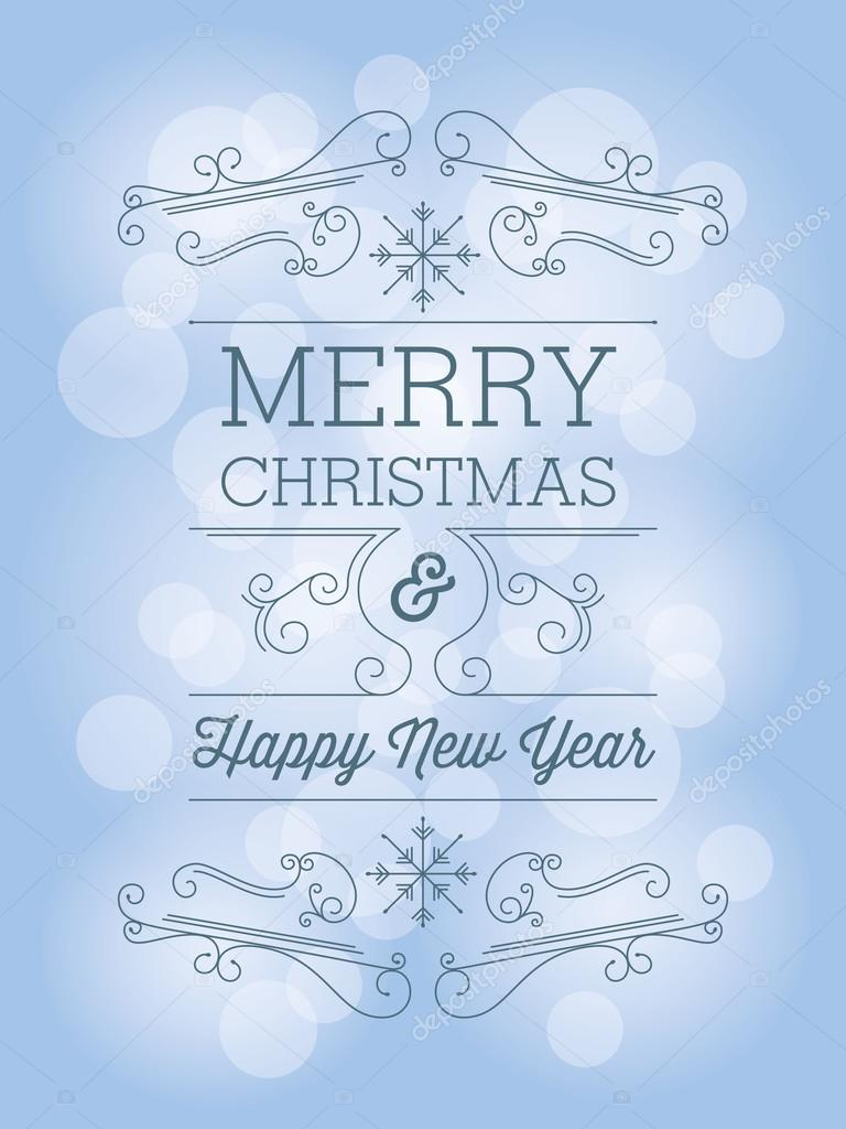 Christmas greeting card with snowflakes and ornaments on blue background.