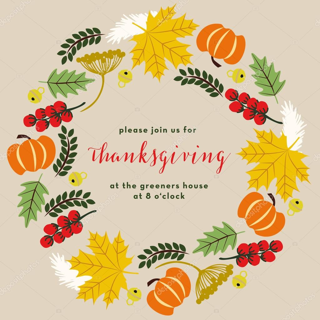 Thanksgiving dinner invitation. Wreath design