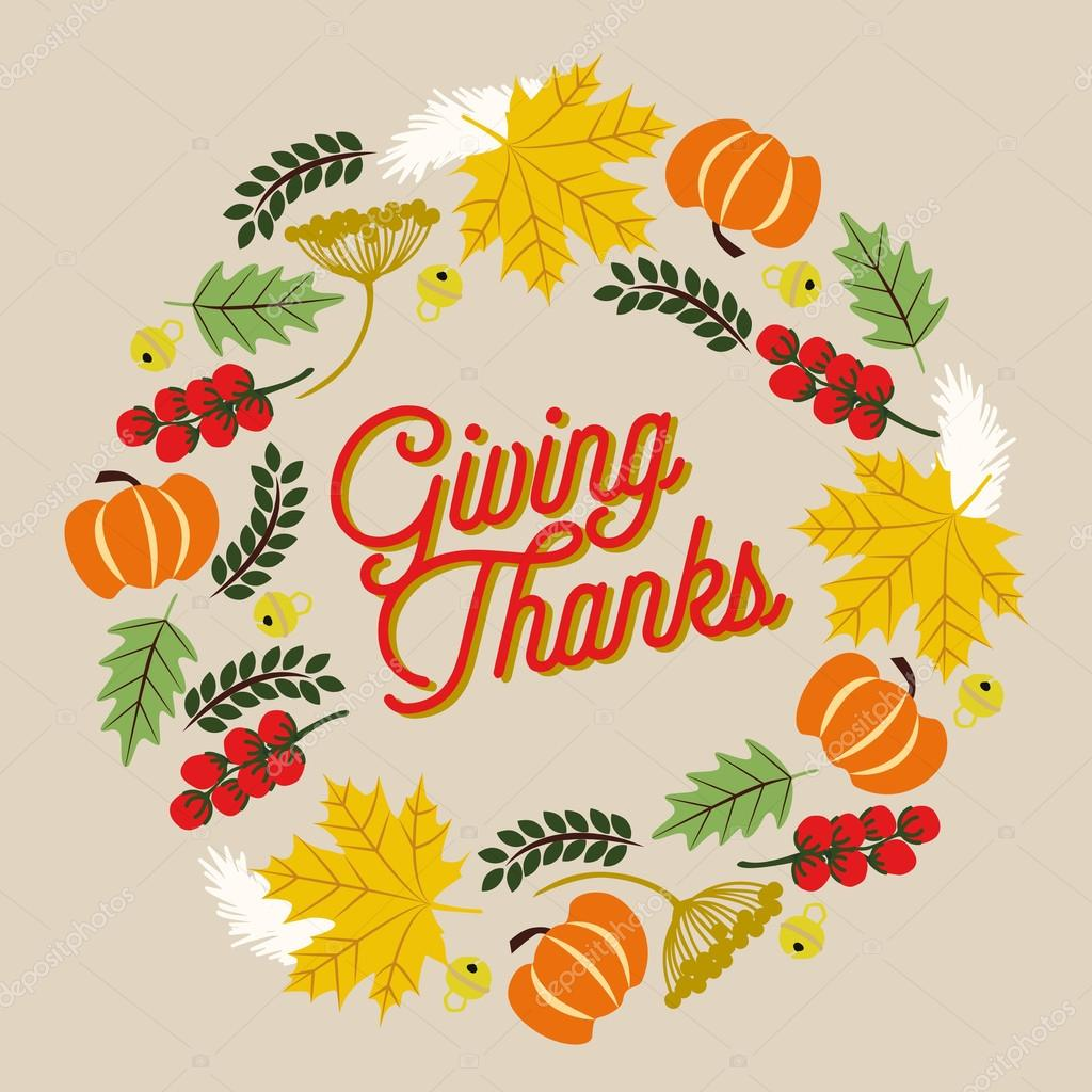 DruckThanksgiving card with wreath on beige background