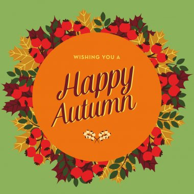 Happy Autumn greeting card with circle banner and leaves.