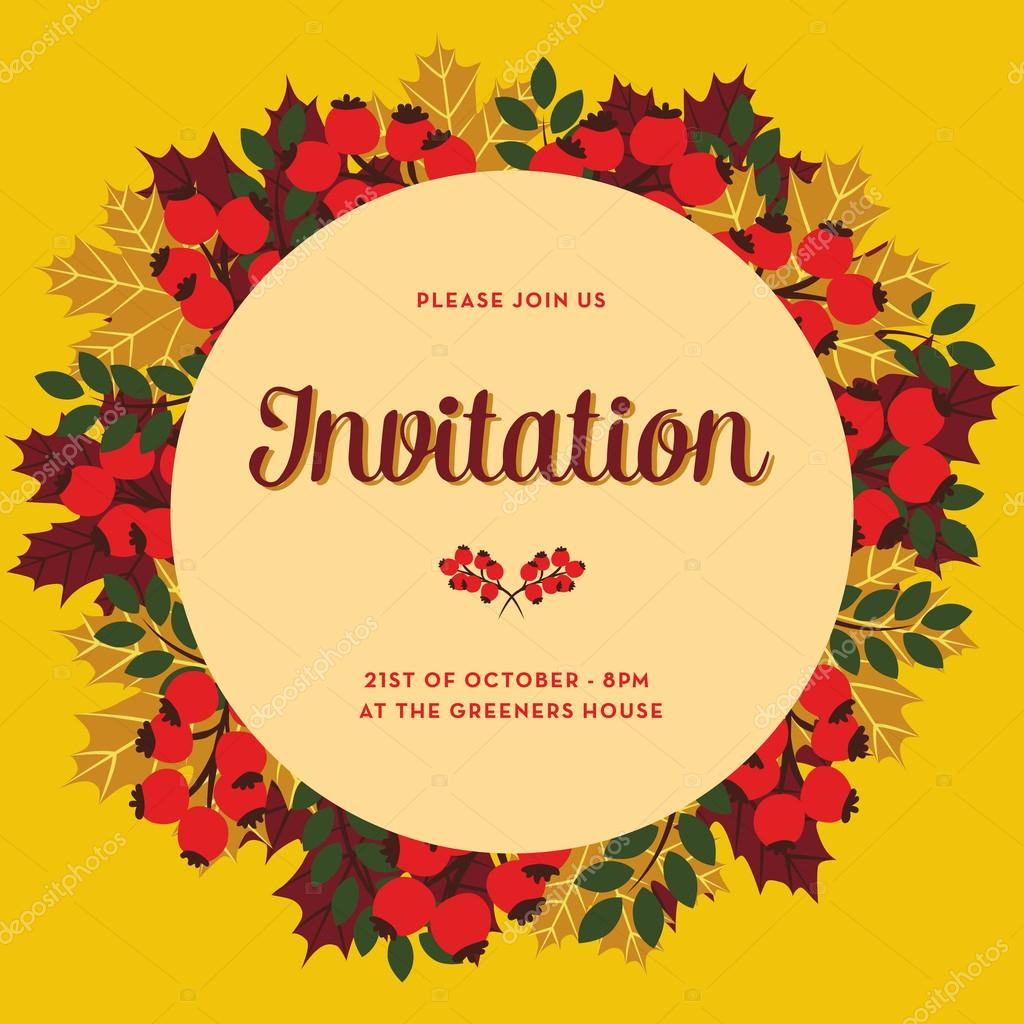 Autumn invitation card with circle banner vetores de stock autumn invitation card with circle banner on yellow background vector and illustration design vetor de sommer7596 stopboris Images