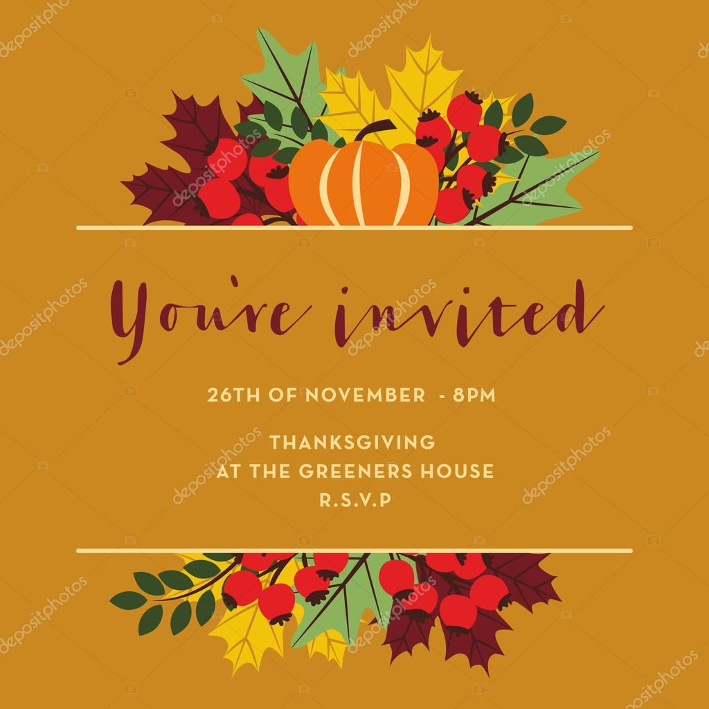 Thanksgiving invitation card with brown banner vetores de stock thanksgiving invitation card with brown banner vetores de stock stopboris Images