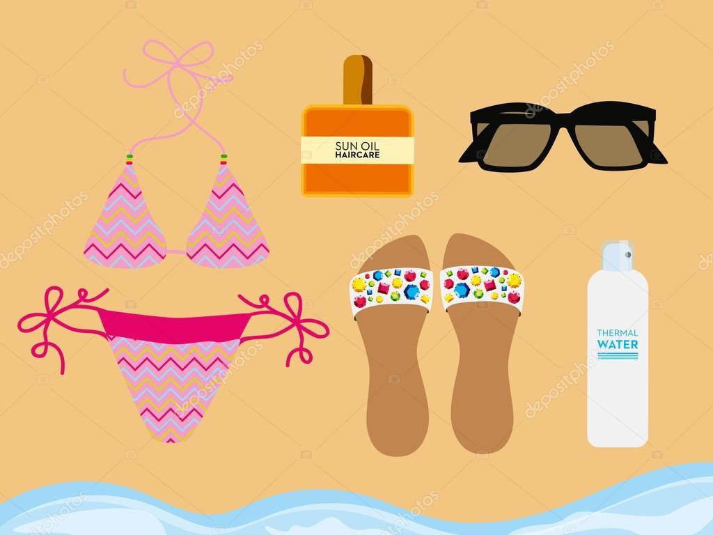 Accessoires de plage sur le sable de la plage. Dessin vectoriel et  illustration. \u2014 Vecteur par sommer7596