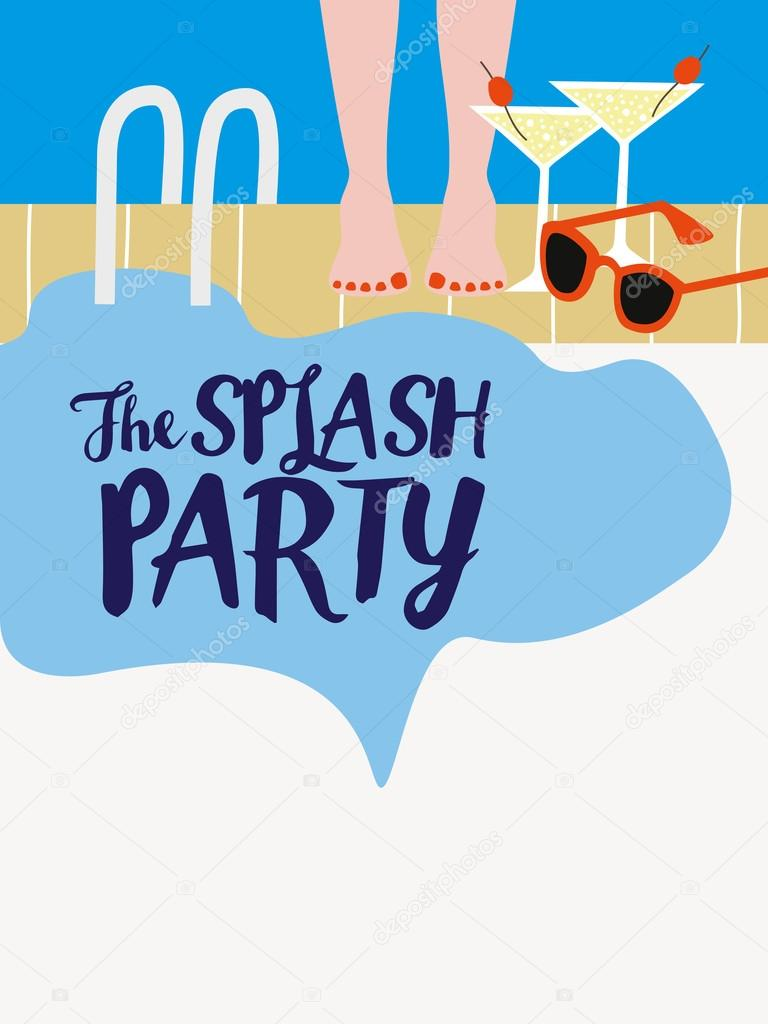 Pool Party invitation with blank space. — Stock Vector ...