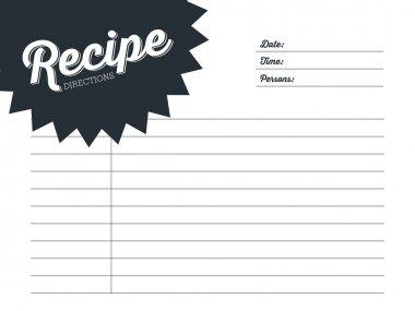 Simple recipe card design in dark blue. Template.