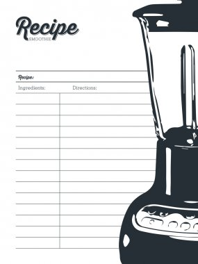 Smoothie recipe card with a blender. Template.