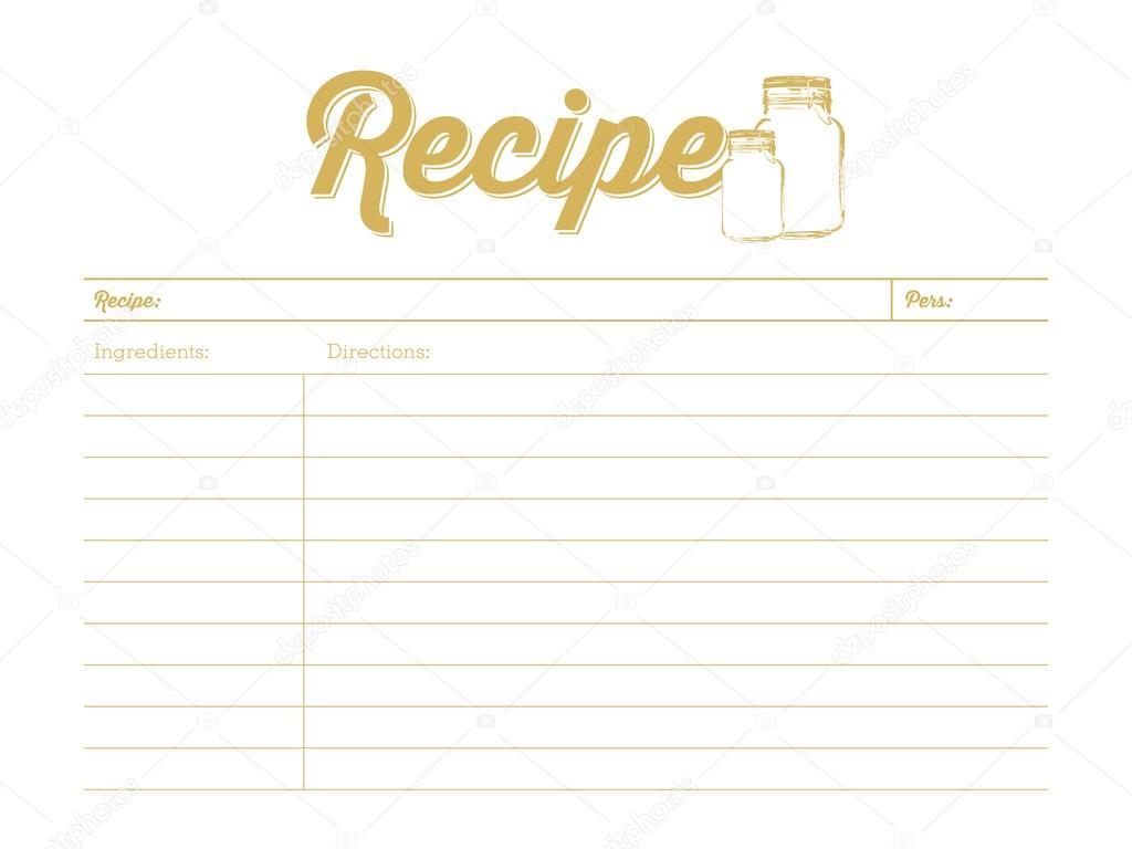石工の瓶に 黄金色のレシピ カード テンプレート ストックベクター