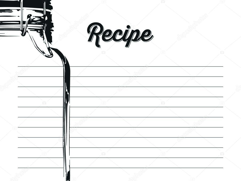 濃い青のフックで石工の瓶に シンプルなレシピ カード テンプレート