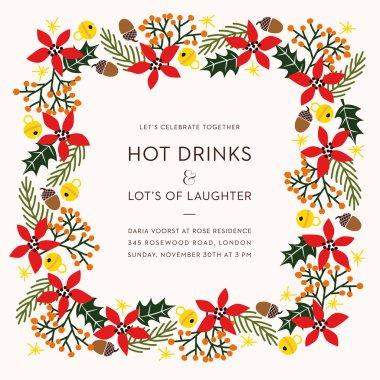 Christmas holiday invitation card. with christmas decoration.