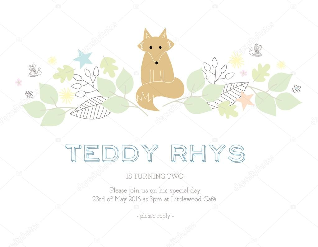 Childrens birthday invitation card with a fox and nature elements childrens birthday invitation card with a fox and nature elements vector and illustration design vector by sommer7596 stopboris Gallery