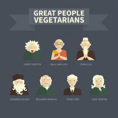 Vegetarians. Icons. Famous people. (color) stock vector