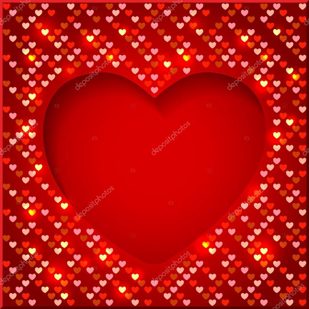 Marco brillante día de San Valentín con corazones brillantes ...