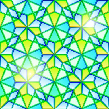 Bright seamless kaleidoscope stained glass