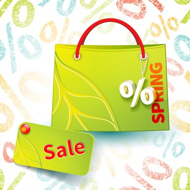 Bright green shopping bag