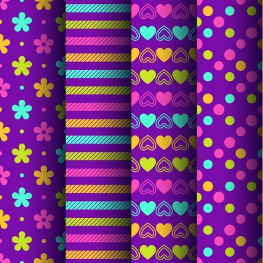 Set of four colorful retro seamless backgrounds with flowers, stripes, hearts and dots clip art vector