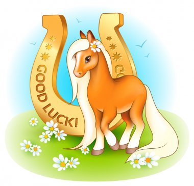 Horse with a golden horseshoe