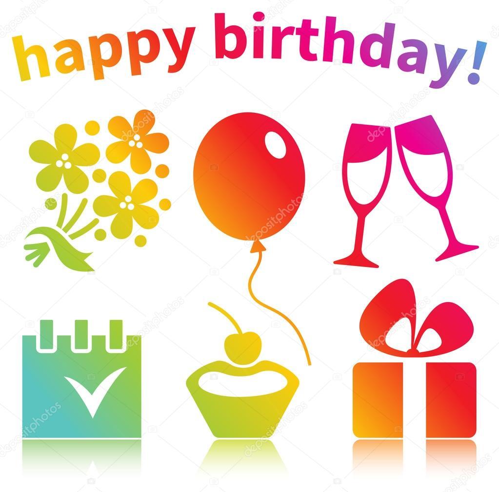 Alles Gute Zum Geburtstag Symbole Stockvektor C Yarkova 58252913