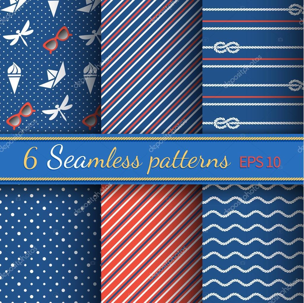 Seamless patterns on marine style