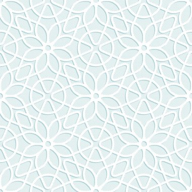 Convex white lace floral pattern
