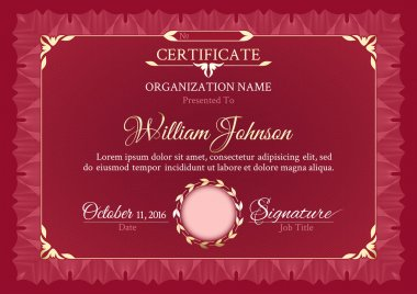 Classic dark red horizontal certificate