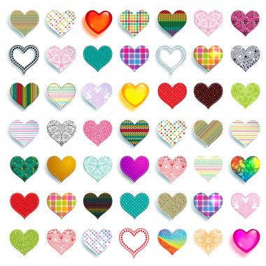 Mega set of 49 colorful scrapbook hearts of different colors, graphics and materials, such as cloth, paper, glass and knitting. clip art vector