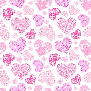 Bright openwork seamless pattern of red and pink hearts from floral lace ornament on the white background clip art vector