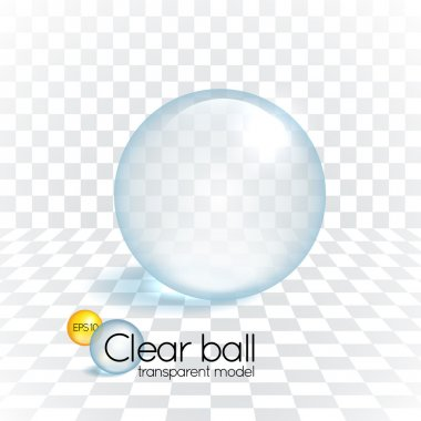 Clear glass transparency sphere cast shadow on a chess grid background clip art vector