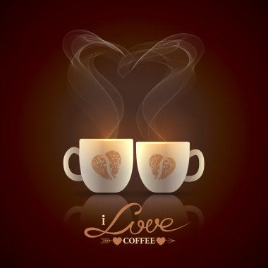 Two cream color cups, decorated with coffee beans in the form of heart, stand together with fragrant steam in the form of heart on a dark brown background stock vector