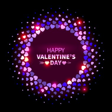 Valentines Day background. Violet shining round frame from hearts in the disco style clip art vector