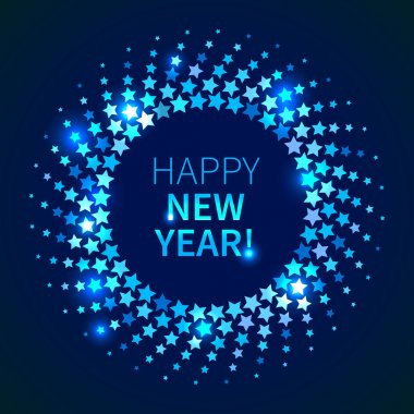 Happy New Year background. Blue shining round frame in the disco style stock vector