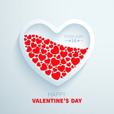 White paper heart filled with red hearts for Valentines Day congratulations clip art vector