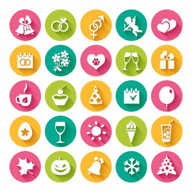 Set of 25 flat icons and design elements for seasonal holidays, birthday and wedding in bright multi-colored circles on the white background clip art vector