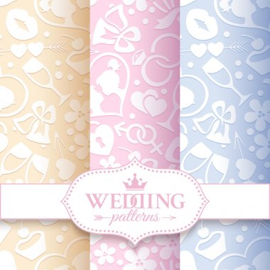 Set of 3 pale romantic seamless patterns with white love and wedding symbols on the cream, pink and lilac background clip art vector