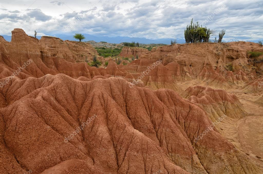 Stunning view to colorful landscape of Tatacoa desert