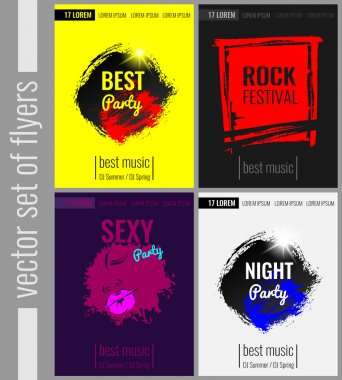 Set of vector posters, flyers for parties and events. The best party, rock festival, night party, sexy party.