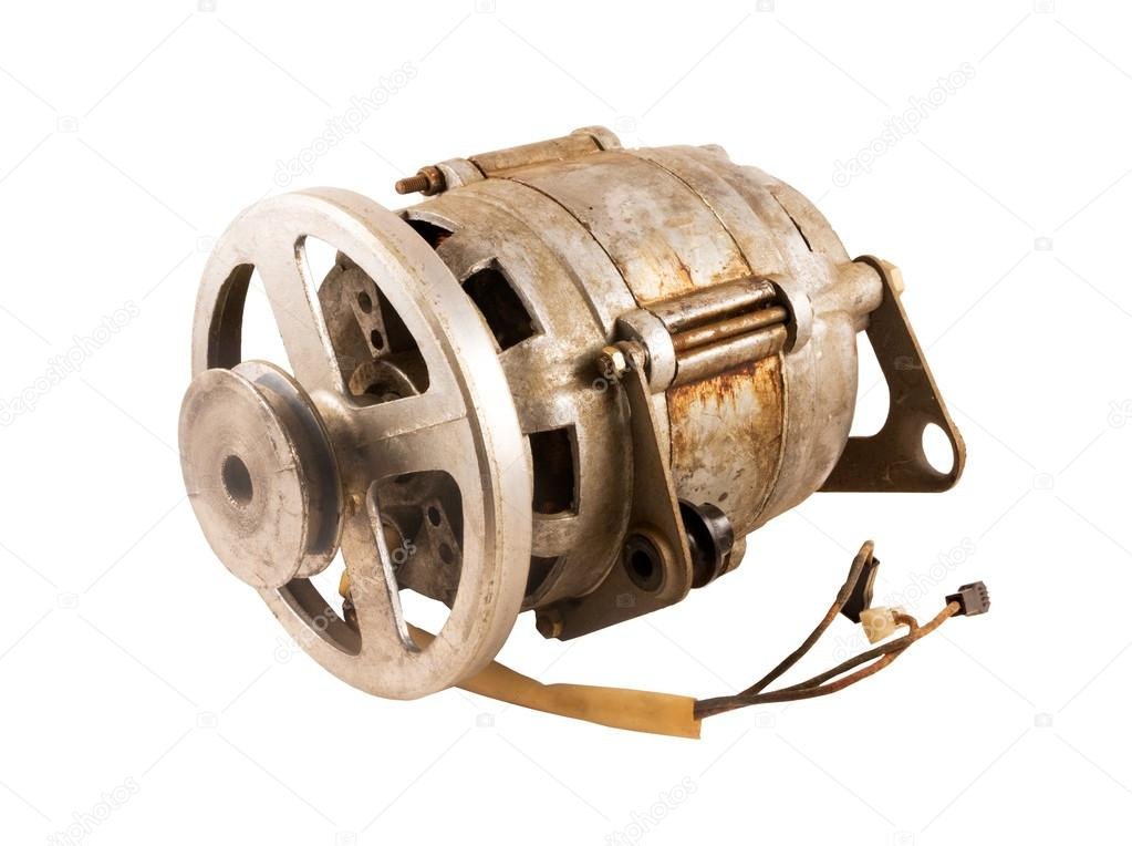 old electric motor with pulley
