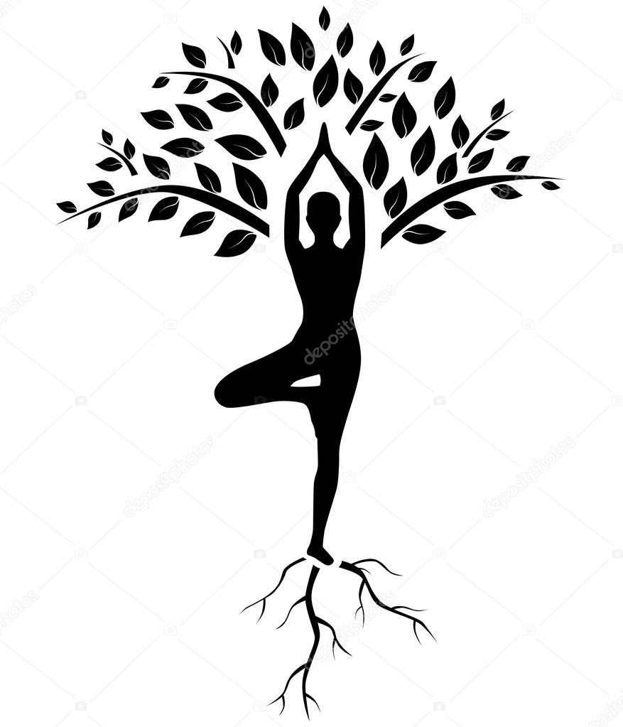 Line Art Yoga : Yoga tree pose silhouette — stock vector caribia