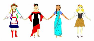 Girls in national costumes